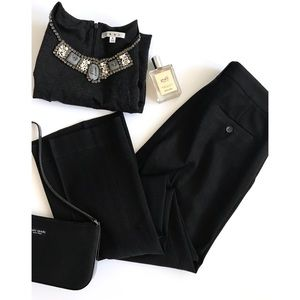 Theory black canvas trousers   pants